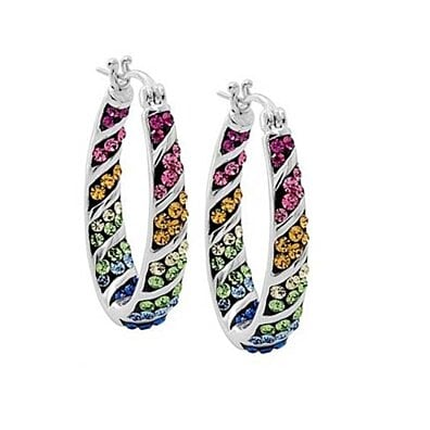 Multi Color Swarovski Elements Crystal Rainbow Hoops In White Gold
