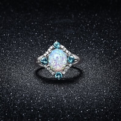 Opal and Aquamarine Opal  Ring Set in 18K White Gold