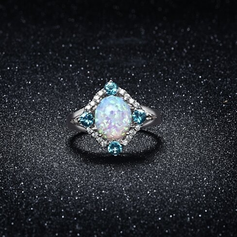 18k White Gold Plate Opal & Aquamarine Special Occasion Ring