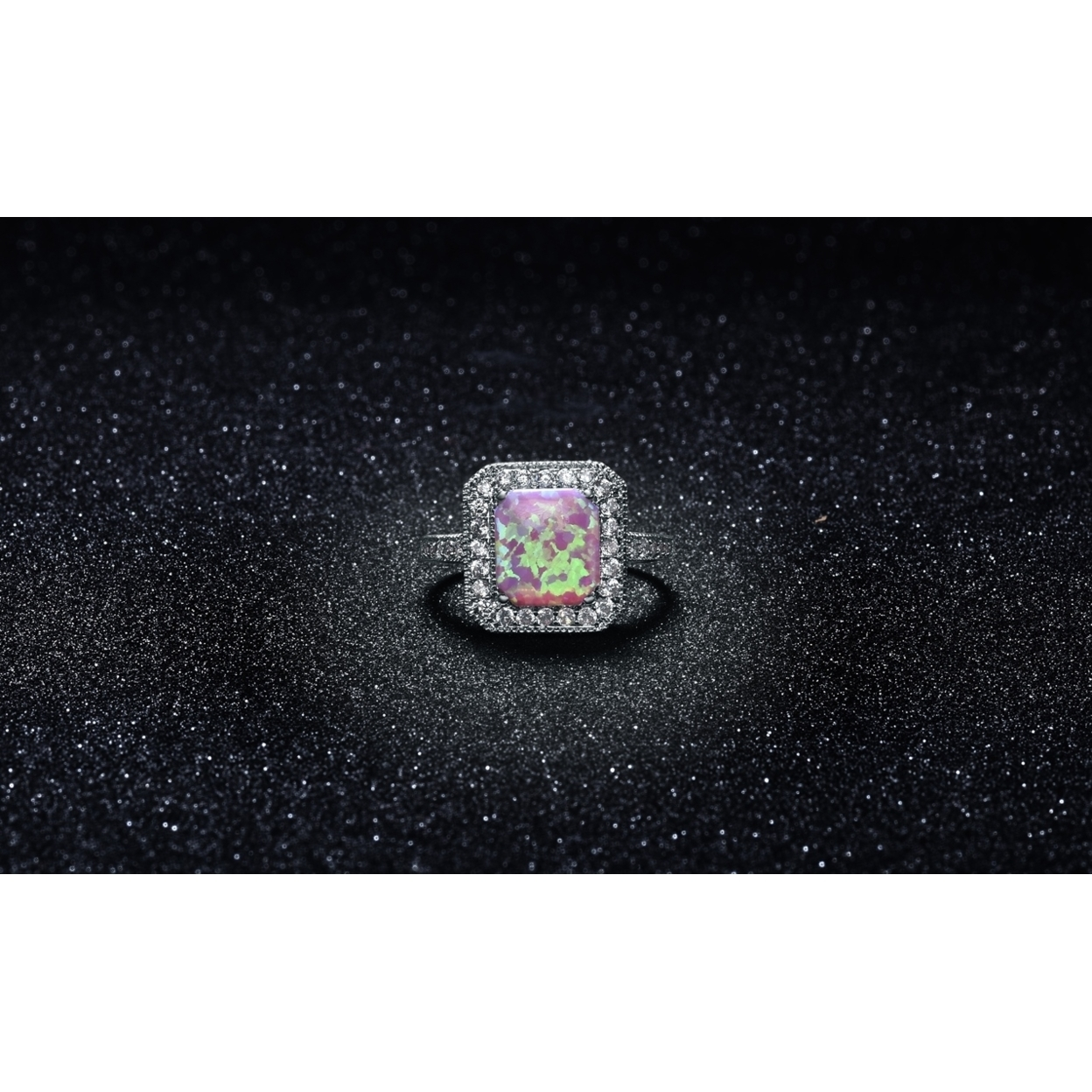 Pink Fire Opal Halo Ring In 18k White Gold 6