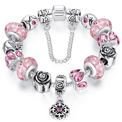 Pink Genuine Murano Glass And Swarovski Elements Crystal Charm Bracelet