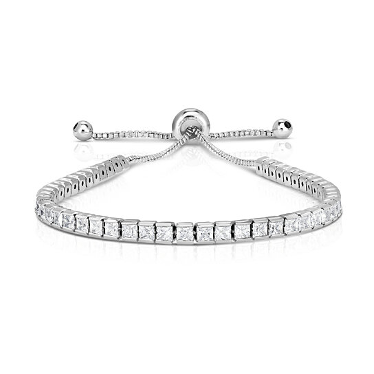 47d604dcfbb60f Trending product! This item has been added to cart 68 times in the last 24  hours. Princess Cut Swarovski Elements Crystal Adjustable Tennis Bracelet