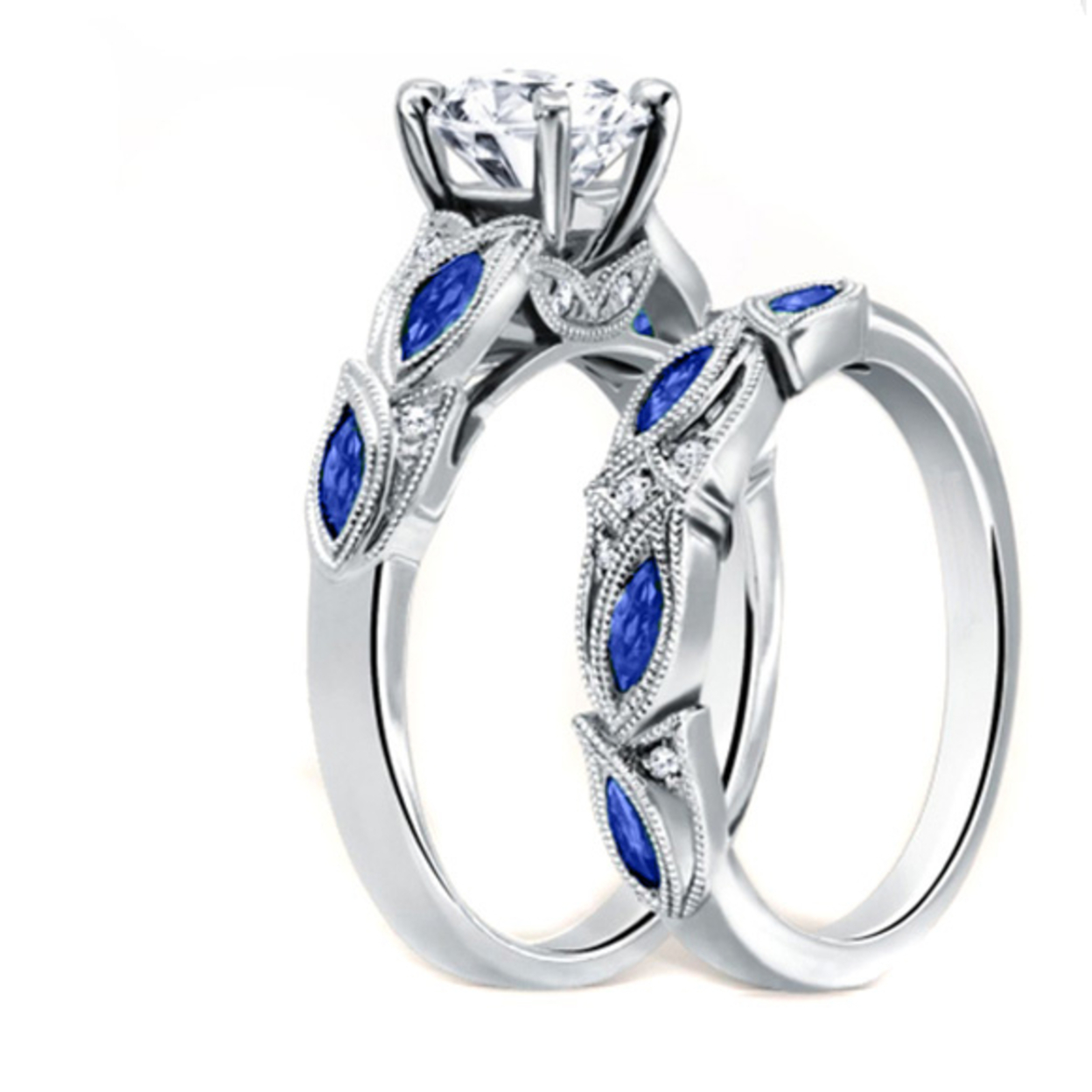 Sapphire Diamond Cut Ring And Band Set In 18k White Gold 6