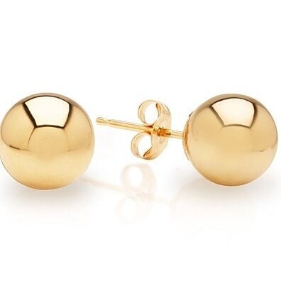 Solid 14Kt Gold Ball Stud Earrings