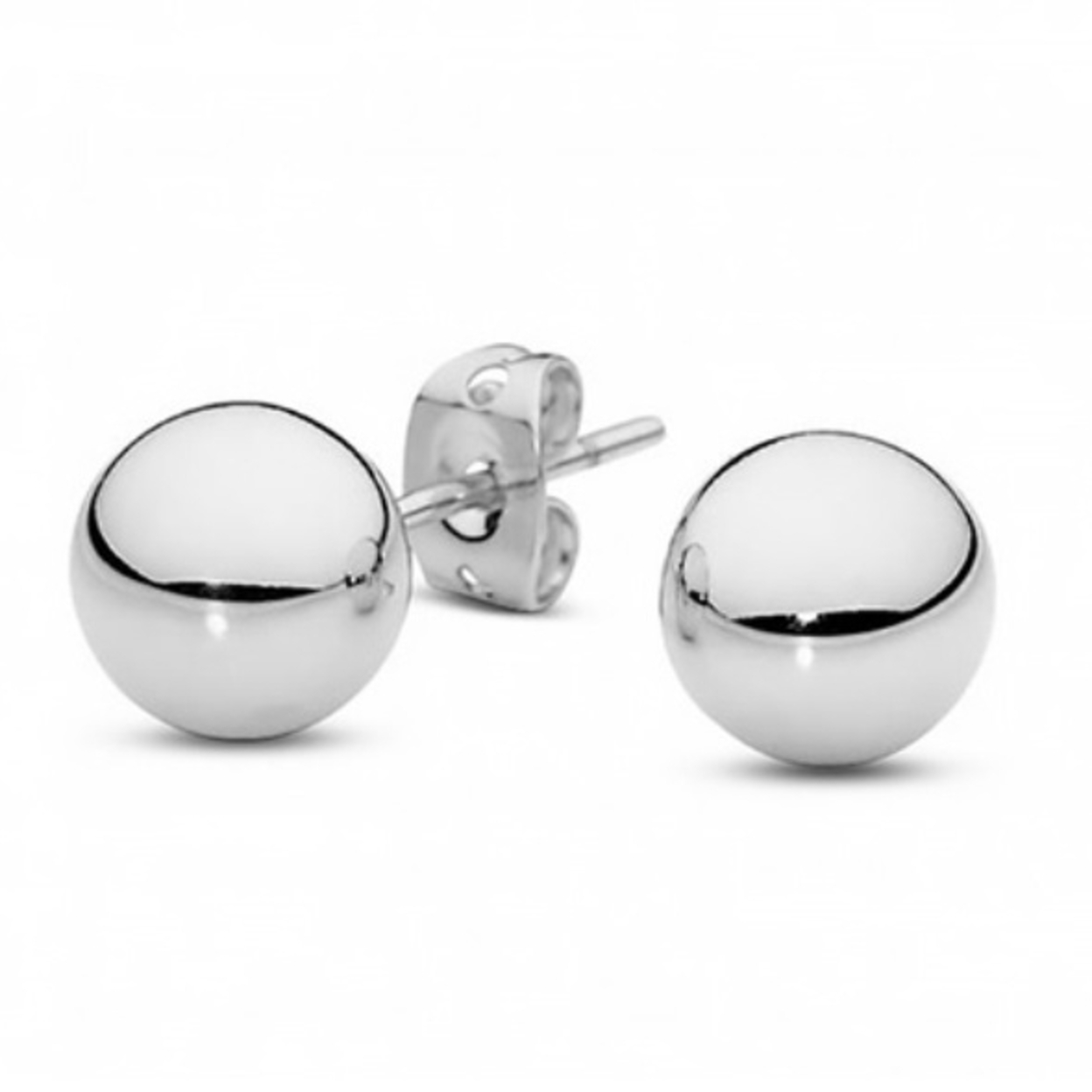 Solid 14Kt White Gold Ball Studs - 4mm