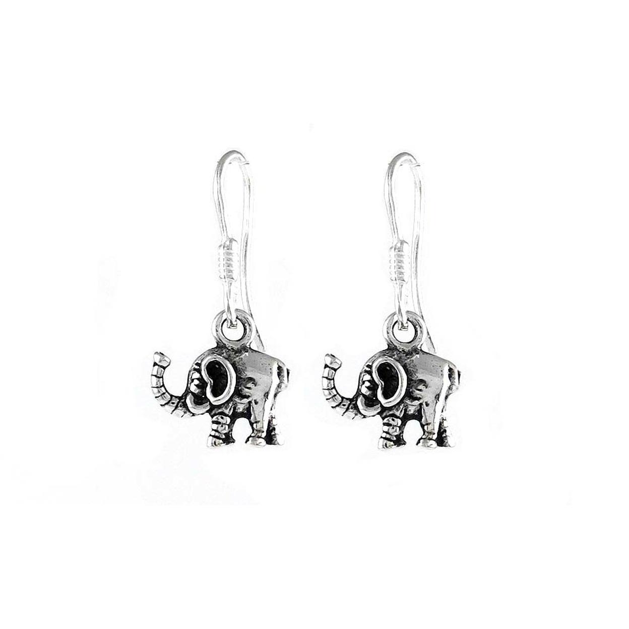 Solid Sterling Silver Elephant Drop Earrings