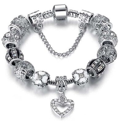 Swarovski Elements Crystal Heart Charm Bracelet
