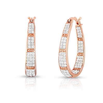 Swarovski Elements Crystal Hoops in 18K Rose Gold