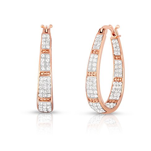 18k Rose Gold Swarovski Crystal Hoop Earrings