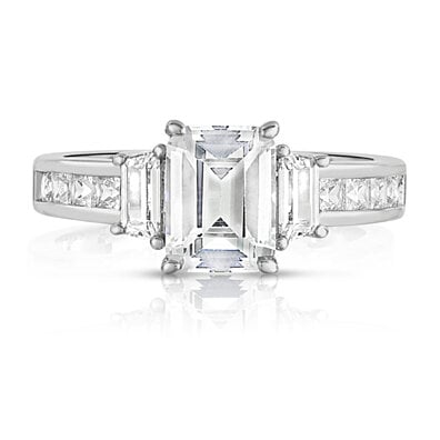Tri Stone Emerald Cut Ring in 18k White Gold