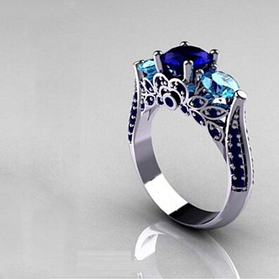 b085a2918 Tri Stone Sapphire and Blue Topaz Pave Ring