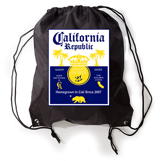 df1af51b0894 YM Wear California Republic Cali Republic Quality Goods Staxx On Deck Gym  Yoga Sneaker Workout Novelty Funny Drawstring Bag