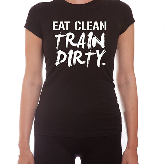 buy ym wear eat clean train dirty women 39 s short sleeve scoop neck fitted t shirt by. Black Bedroom Furniture Sets. Home Design Ideas