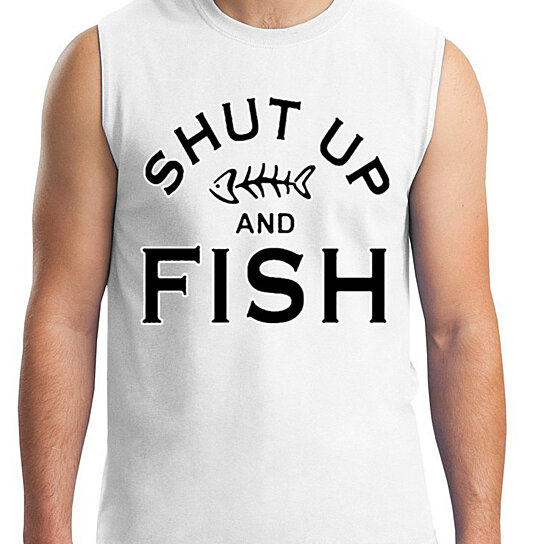 Buy ym wear men 39 s shut up and fish gym workout funny for Shut up and fish