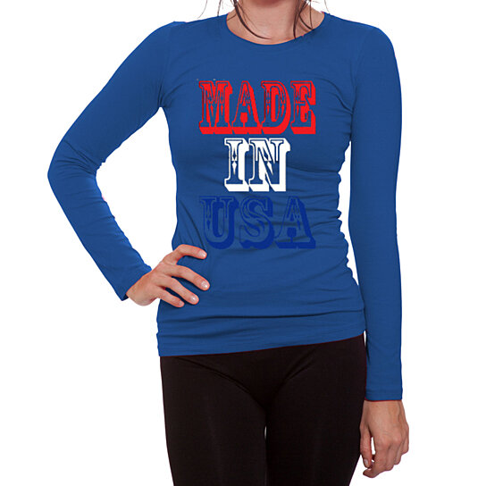 Buy ym wear women 39 s made in usa red white and blue i love for Blue and white long sleeve shirt
