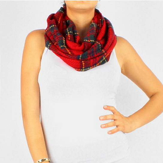 Buy madison plaid infinity scarf red by you me boutique on opensky