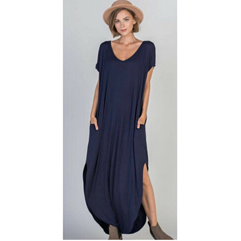 Casual Maxi Dress with Pockets in Multiple Colors, Small-2X