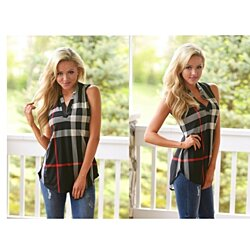 SALE!  Playful Plaid Sleeveless Shirt