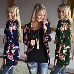 Womens Soft Floral Long Sleeve Cardigan