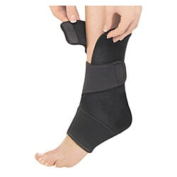 Zippered Ankle Support With Wraps for Maximum Support - Black