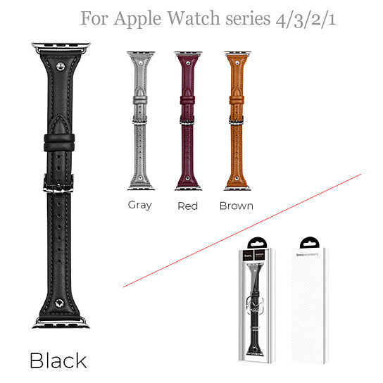 Buy For Apple Watch Series 4/3/2/1 Leather Watch Band
