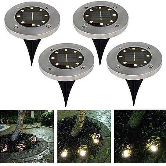 4LED Solar Floor Light Garden Lamp Under Groud Walk Path Way Outdoor Waterproof