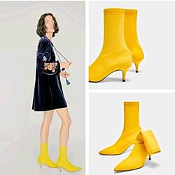 Pointed high heel ankle boot with a short tube stretch boots yellow short boots