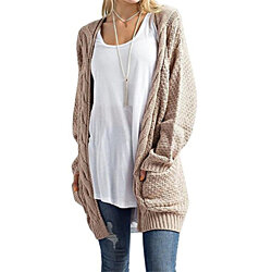 Boho Long Sleeve Open Front Chunky Warm Cardigans Pointelle Pullover Sweater Blouses