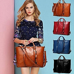 Fashion Genuine Leather Bags Tote Leather Handbags Messenger Bag +Free Gift -Random Necklace