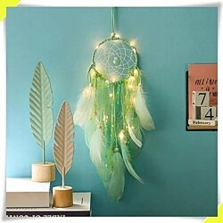 Perfect Handmade Dream Catcher with Feathers Night Light Wall Hanging Decoration Room Gift