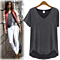 Summer Loose V-neck Casual Short Sleeve Top T-shirt for Wmen +Free Gift -Random Necklace