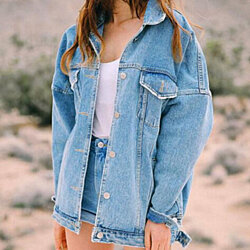 Vintage Retro style washed blue denim jackets moto denim coat for women and girl Gift