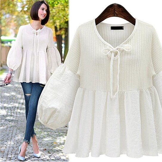 Buy Women Retro Loose Crochet Knitted Blouse Shirts Summer Top