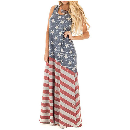 80c7c3725b5 Buy Women s Summer Beach Sleeveless Tank Dress Strapless American Flag  Print Maxi Dress by YY s Store on OpenSky