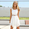 Women White Lace Chiffon Summer Dress +Necklace
