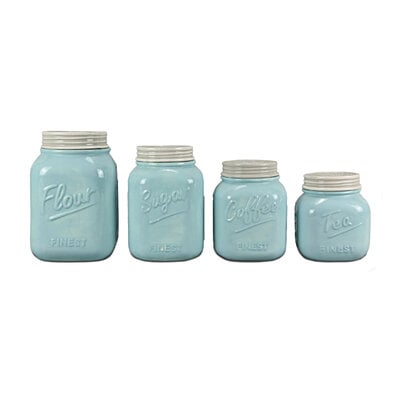 Blue Canister Mason Jar Set of 4 by ZallZo