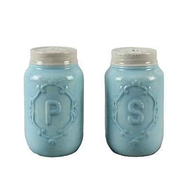 Blue Mason Jar Salt & Pepper Shakers by ZallZo