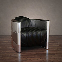 ZallZo Commander Leather and Aluminum Chair (2 Colors)