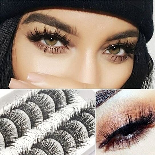 f119265dd6f Trending product! This item has been added to cart 69 times in the last 24  hours. 10 Pairs Thick Long Cross Party False Eyelashes Black Band Fake Eye  Lashes ...