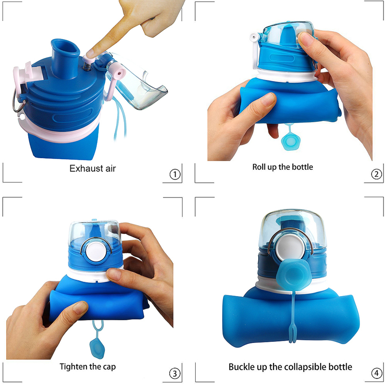 Foldable Water Bottle Leak Proof Silicone Bottle Outdoor Foldable Bottles - blue 5a02b9b5cd5c860e4726b66f