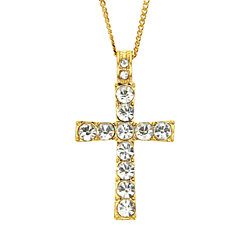 Hip Hop Necklace Unisex Cross Pendant Necklace Flat Chain Choker Stylish Necklace Elegant Chain Necklace(gold)