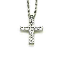 Hip Hop Necklace Unisex Cross Pendant Necklace Flat Chain Choker Stylish Necklace Elegant Chain Necklace(silver)
