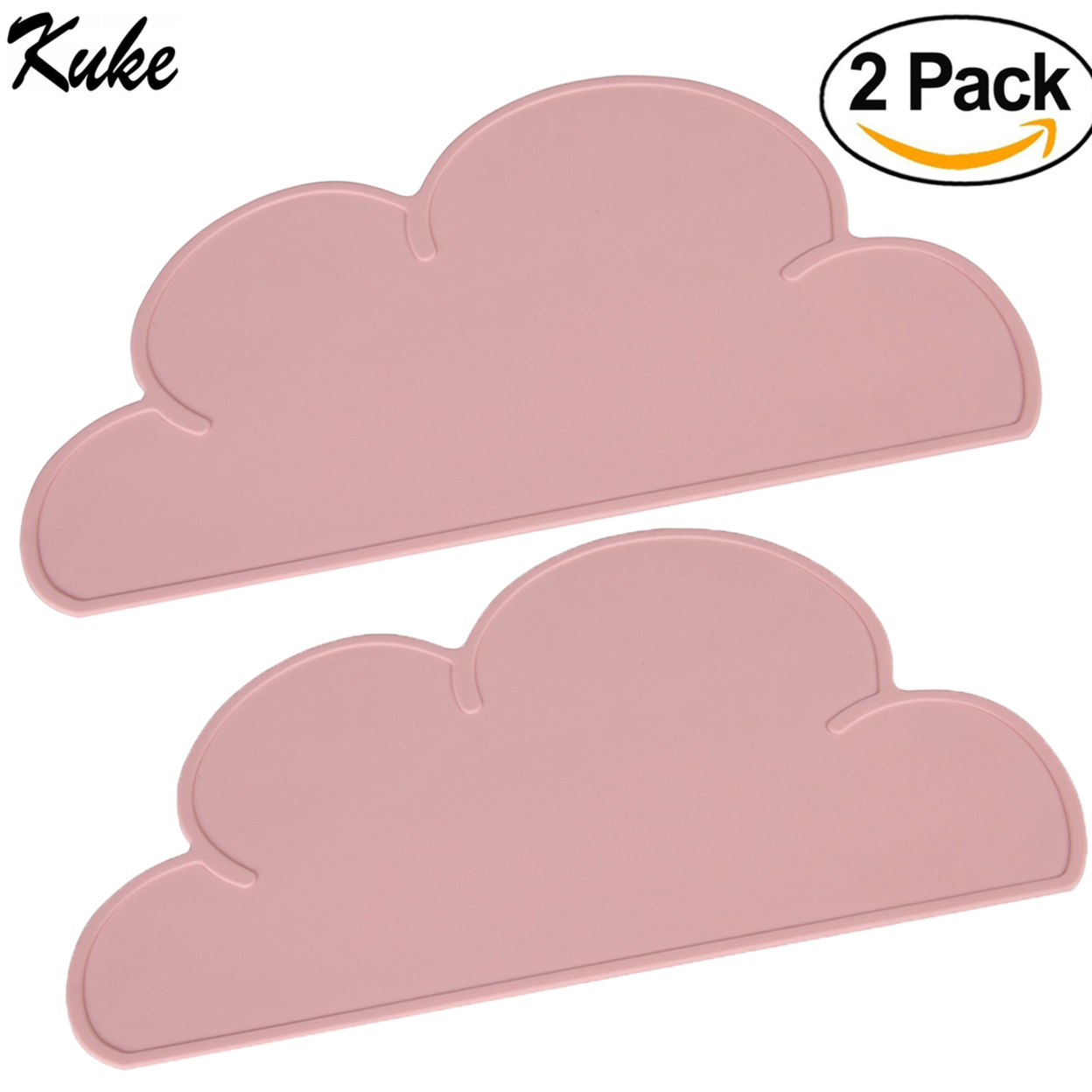 Kuke 2 Pcs Soft Silicone Cloud Shape Placemats Meal Mats for Children Baby Kid (Pink) 59c4be3b2a00e458ee098fdd