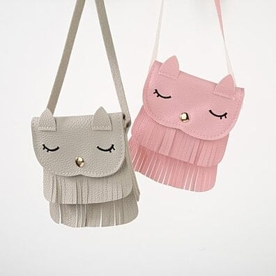30a2f8c9aaa Lovely Cat Style Bag Tassel Faux Leather Shoulder Cross Body Mini Bag for  Girl