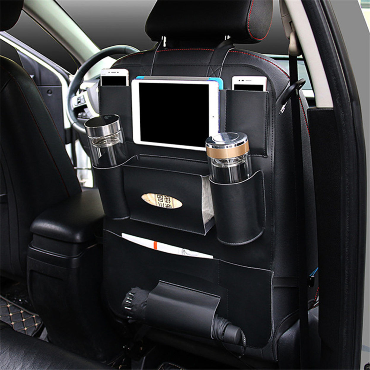 Multi- functional PU Leather Hanging Bag Car Seat Back Organizer-Black Hot Sale 59c4be39e2246139876c6b67