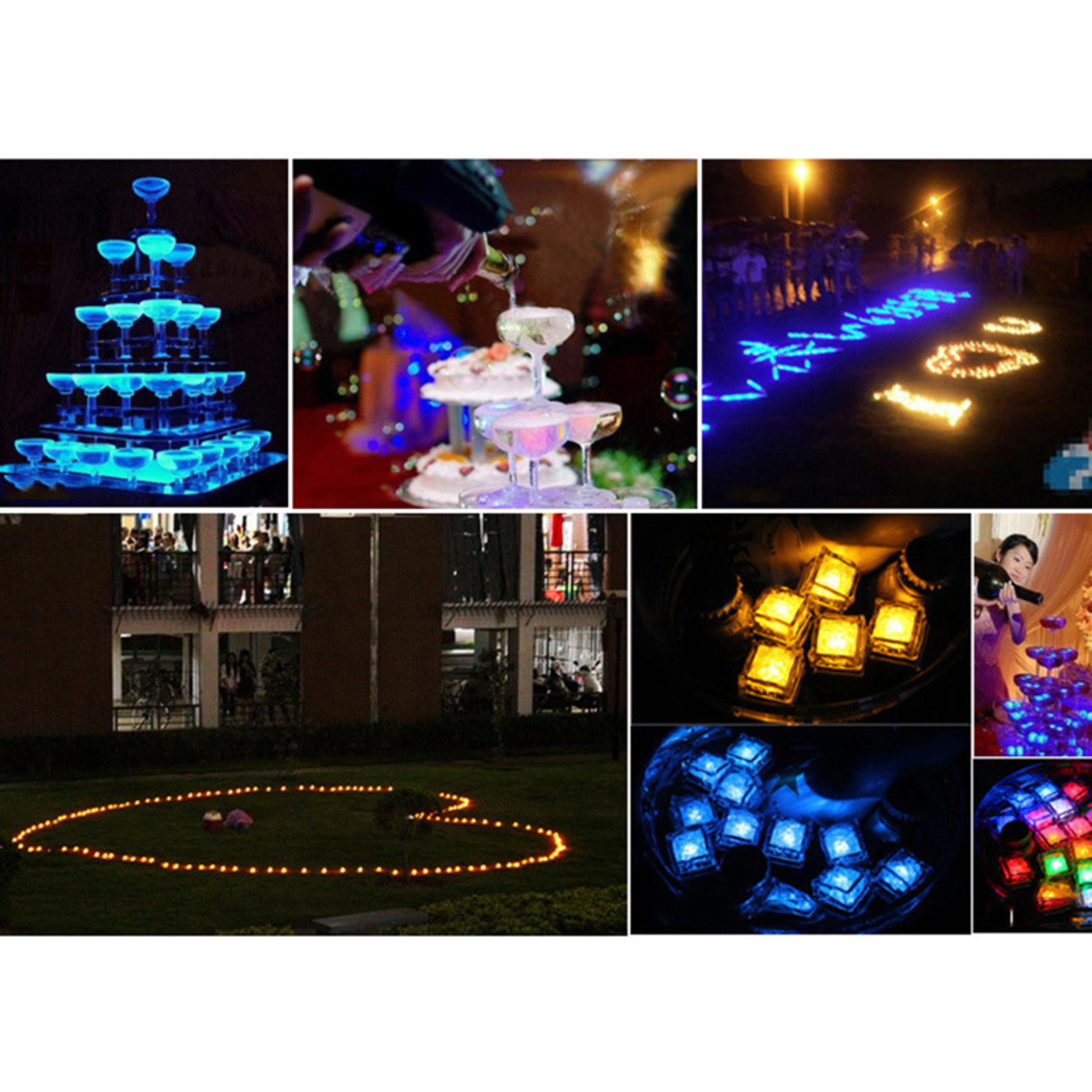 Party Decoration Blue 12pcs LED Flashing Lights Ice Cubes Water Sensor Circulate 59c4be392a00e459651cf499