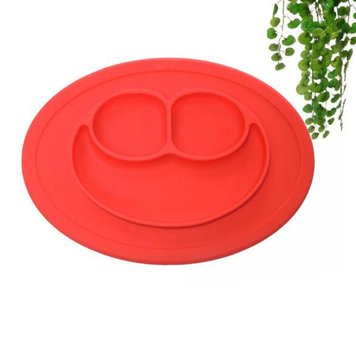 Red Smile Shape Round Baby Silicone Suction Table Food Tray Placemat Bowl Plate 59c4be3be2246139b27948f5
