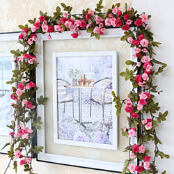 Shabby Chic Rose  Everlasting blooms Garland Flower Vintage Style 7.5ft Wedding String Room