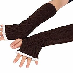 Women Wool Lace Long Section Gloves Winter Warm Half Fingers Thumb Hole Wrist Gloves Mittens