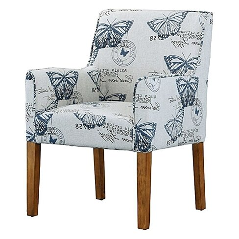 BLUE BUTTERFLY UPHOLSTERED ARMCHAIR